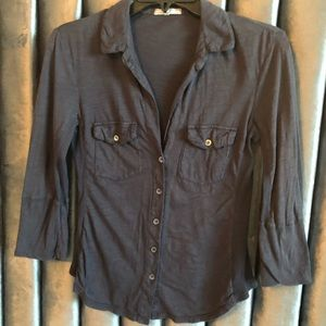 James Perse Navy 3/4 sleeve low v neck button up